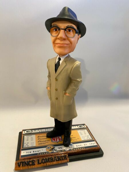 RARE Vince Lombardi Green Bay Packers quot;Ice Bowlquot; Ticket Base Bobble Head #917