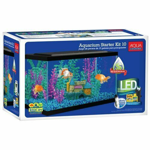Aqua Culture 10 Gallon Aquarium Starter Kit With LED Lighting Classic Fish Tank $50.28