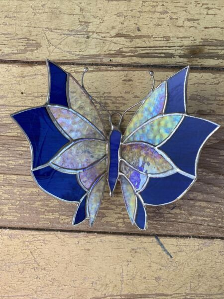 """Butterfly 3D Blue Handmade Stained Glass Sun Catcher 5""""X 6"""" Inches"""