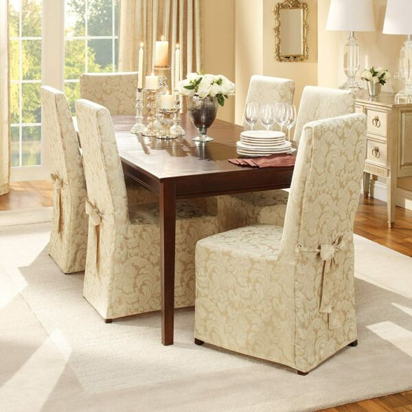 SURE FIT Home Décor Scroll Long Dining Room Chair 6 Pieces Slipcover Champagne $50.00