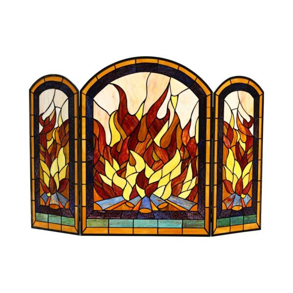 42quot; W x 28quot; H Tiffany Style Stained Glass Arch 3 Section Fireplace Screen Panel