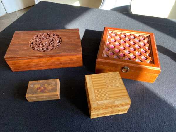 Vintage Wooden Boxes Stamp Box Jewerly Trinket Boxes