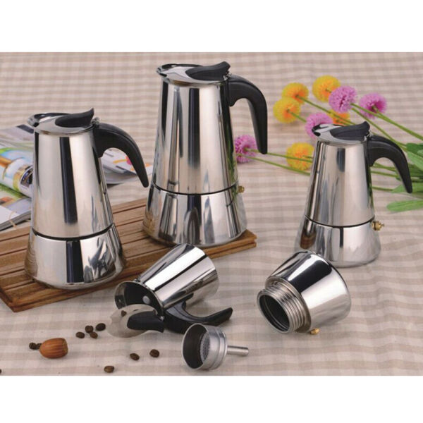 Stainless Steel Espresso Percolator Coffee Stovetop Maker Mocha Pot for Use on