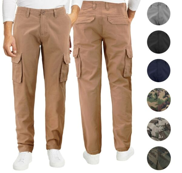 Men#x27;s Cotton Tactical Work Trousers Multi Pocket Military Army Cargo Pants
