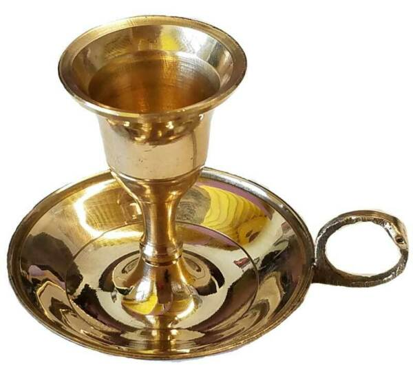 Small Brass Metal Chamberstick Style Taper Candle Holder