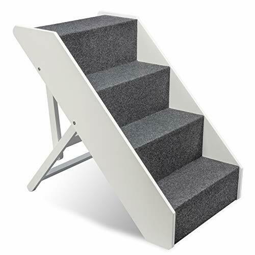 Arf Pets Wood Dog Stairs 4 Levels Height Adjustment Foldable White