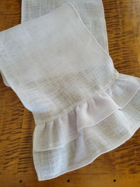 White Burlap Table Runner with Double Burlap Ruffles Various Sizes