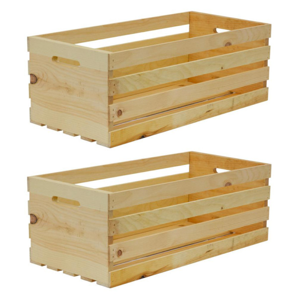 Wood Crate Storage Container Tote Organizer Shelf X Large 2 Pack
