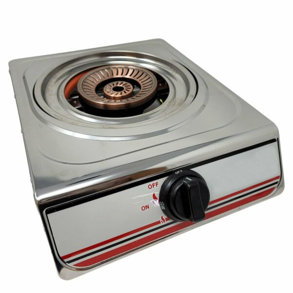 Portable Single Burner Propane Gas Stove Cooking Stainless Steel Body amp;...