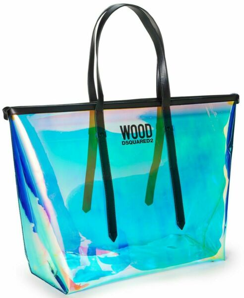 DSQUARED 2 WOOD CLEAR BLUE GREEN IRIDESCENT PVC TOTE BAG WITH DUST BAG Brand New $19.99