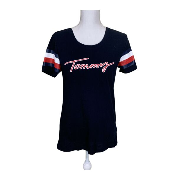 Tommy Women#x27;s T Shirt Navy Red amp; White Accents S P $16.80