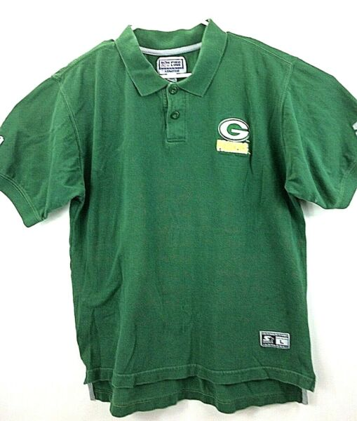 Green Packers Vintage Pro Line By Starter Size Large Cotton Polo Shirt