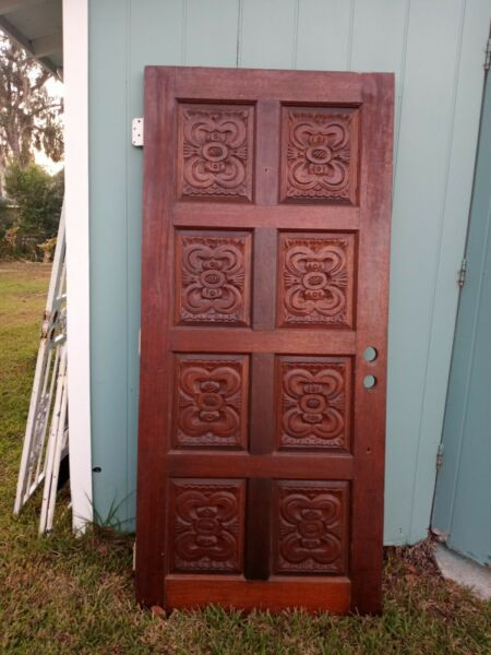 Beautiful Antique Exterior Interior 8 Panels Hand Carved Solid Wood Door $1200.00