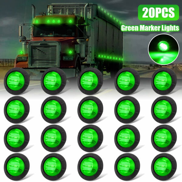 20X Green 3 4quot;Round LED Bullet Clearance Side Marker Lights For Truck Trailer RV