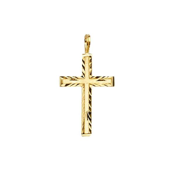 14k Yellow Gold Cross Pendant Charm for Necklace