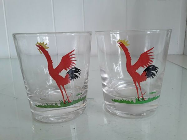 2 Vtg Federal Red Crowing Roosters Glasses Tumblers Old Fashioned Bar Ware MCM