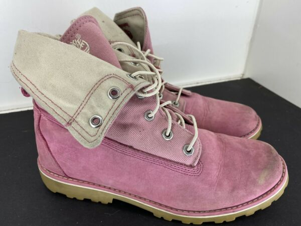 Timberland Pink Leather Boots Fold Over Top Womens Size 5.5 $40.00