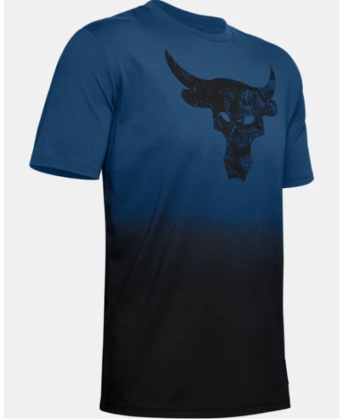Under Armour Project Rock Tee Mens Authentic Bull Graphic Short Sleeve Blue $30.99