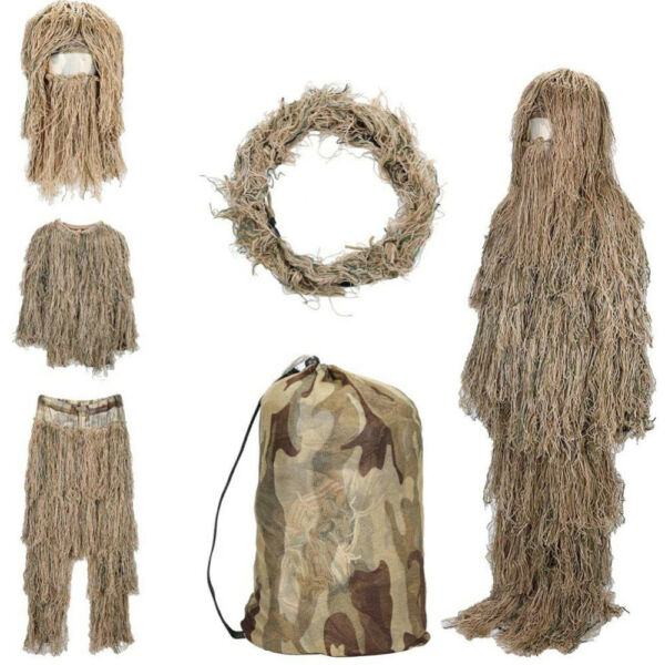 Desert Ghillie Suit 3D Camouflage Woodland Breathable Hunting Suit 4 Piece w Bag