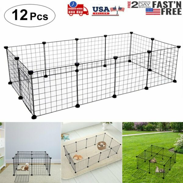 14 Inch 12 Panels Tall Dog Playpen Large Crate Fence Pet Play Pen Exercise Cage