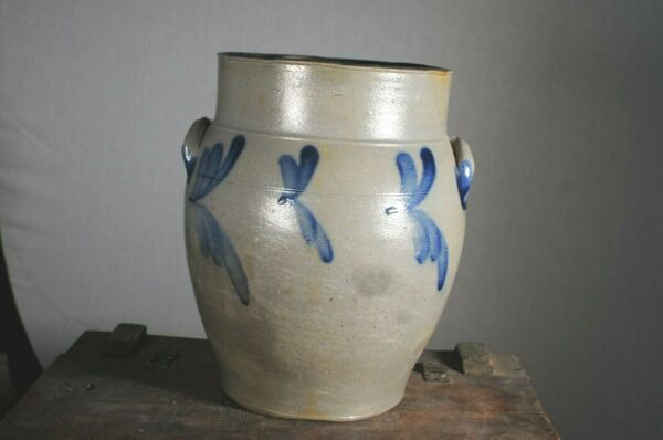 Antique COBALT BLUE DECORATED STONEWARE CROCK JUG