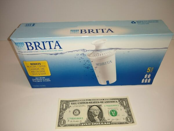 5 Pack Brita Water Pitcher Replacement Filters Cartridges New Sealed