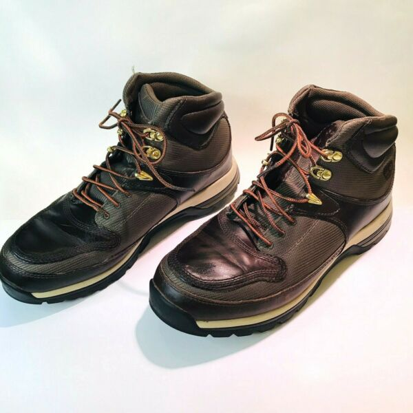 NWOT Men#x27;s Size 8M Timberland Hiking Boots Mid Height 89111 Brown Leather Nylon $47.00