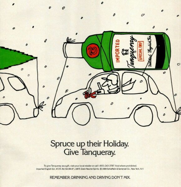1990 Tanqueray Rooftop Car Christmas Tree Spruce Up The Holiday Vintage Print Ad $13.95