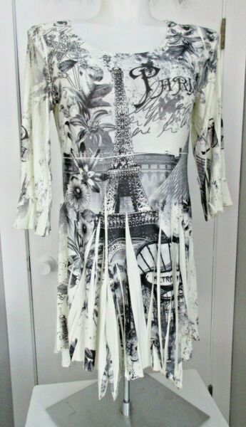 REINA Women#x27;s XL SHIRT TUNIC LONG TOP PARIS THEME ABSTRACT BLACK GRAY NEW