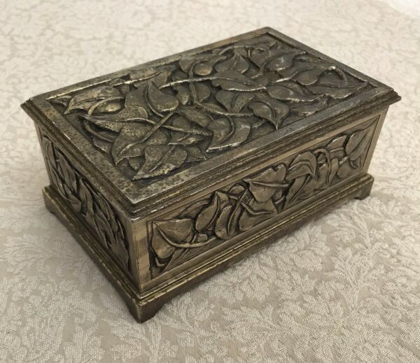Beautiful Elegant Antique Box Jewelry Trinket Floral Relief Wood Lining