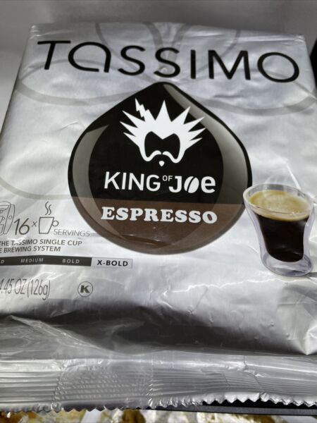 King of Joe Espresso Coffee T Discs Tassimo Brewing Systems 16 T Discs APRIL 1