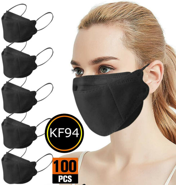 50 100 PCS Black 4 layers KF94 Face Mask Mouth amp; Nose Protector Respirator Masks