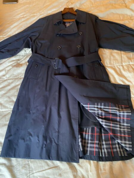Vintage Burberry Navy Blue Mens Double Breasted Trench Coat Size 40 SHORT NWOT $399.99