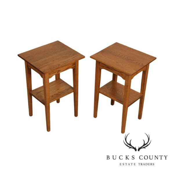 Hunt Country Furniture Solid Oak Pair 2 Tier Side Tables $795.00