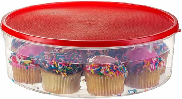 Zilpoo Plastic Pie Keeper with Lid 10.5 Christmas Cupcake Carrier Muffin