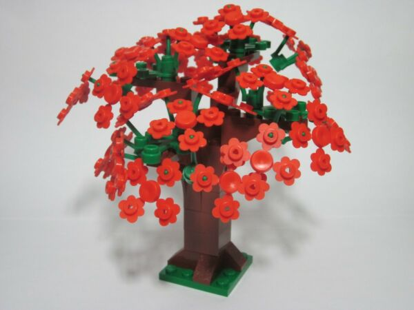 Custom tree for LEGO with Spring red flowers all new parts FREE shipping