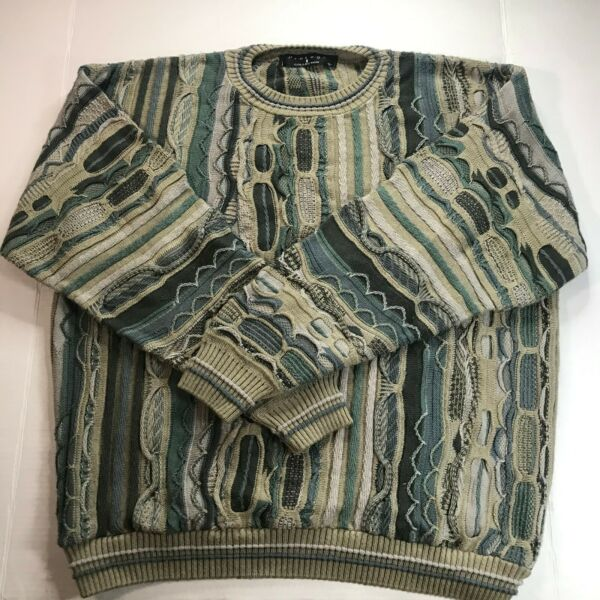 Vintage 90s Coogi Style Sweater Size Large Cotton Protege Collection Teal Green $36.66