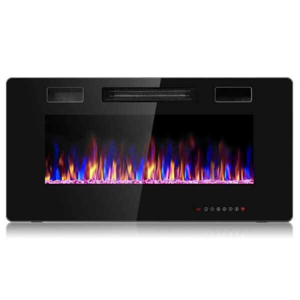 36quot; Electric Fireplace Heater Recessed Ultra Thin Wall Mounted Multicolor Flame