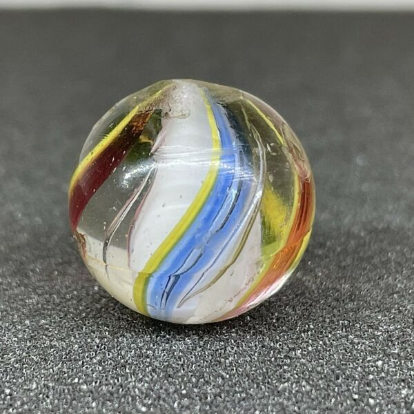 Antique Vintage .69quot; German White Solid Core Jelly Swirl Handmade Glass Marble $13.99