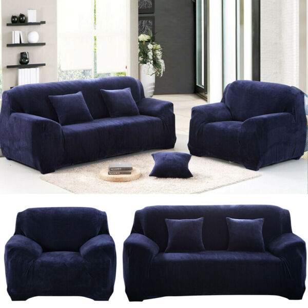 Stretch Thick Sofa Cover 1 2 3 4 Seater Couch Protector Velvet Plush Slipcover $19.99