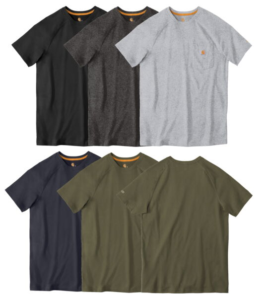 Carhartt Men#x27;s Force Cotton Delmont Short Sleeve T Shirt Relaxed Fit CT100410