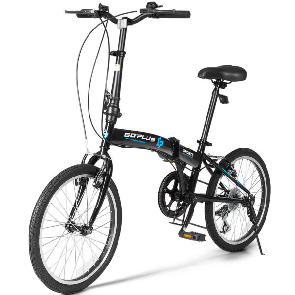 20quot; 7 Speed Folding Bicycle Bike for Adult Lightweight Iron Frame Dual V Brakes $239.99