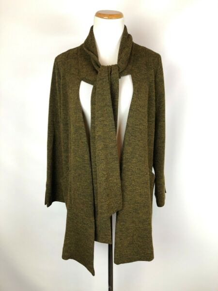 IC by Connie K Green Knit Blazer Jacket Tie Front Size Small