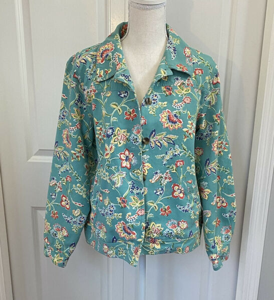Appleseed's Green Yellow and Pink Floral Button Up Soft Jacket Large