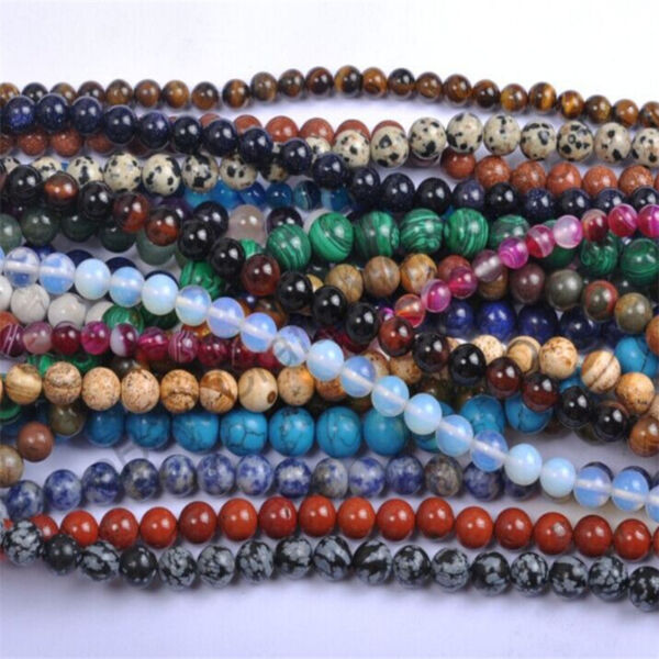 Natural Gemstone Round Spacer Loose Beads 4mm 6mm 8mm 10mm 12mm Assorted Stones C $0.99