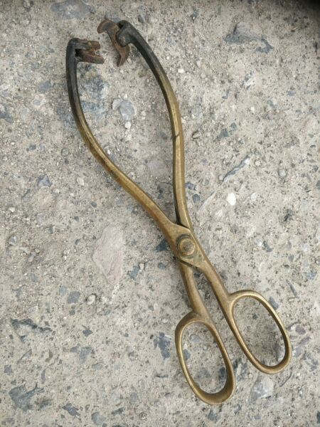 Antique Cast Fireplace Brass Coal Tongs patented design 11 inch