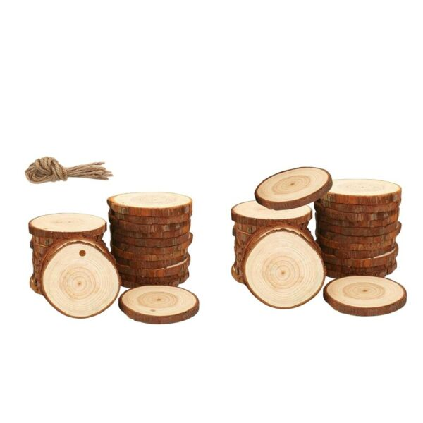 Lot of 10 Round Wood Piece Slices Art Craft Bauble DIY Wall Decor Ornaments