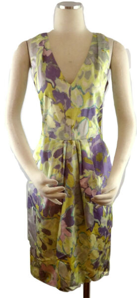Etro Dress SZ 44 IT Artsy Floral Watercolor Sleeveless Rayon Cotton SZ M $56.99