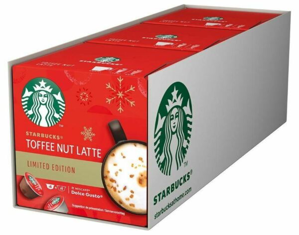 Starbucks Toffee Nut Latte Nescafe Dolce Gusto Capsules Coffee Pods 6 CUPS MUGS