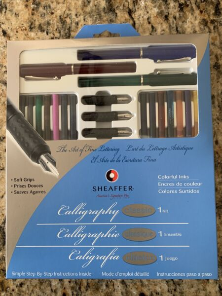 Sheaffer Calligraphy Kit Set 3 Pens 14 Cartridges Instructions NEW IN BOX